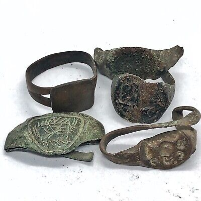 5 Authentic Ancient Or Medieval Ring Fragments - European Artifact Lot Old