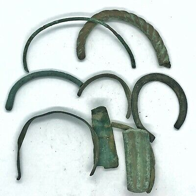 9 Ancient Bronze Viking Bracelet Fragments - Authentic Jewelry - 11th Century AD