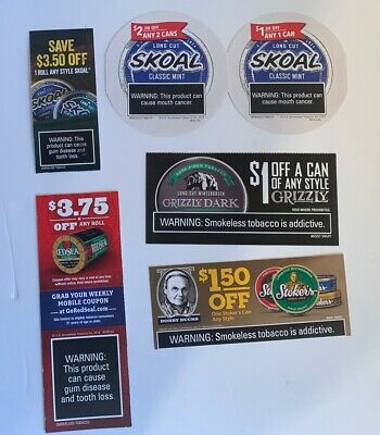 Chewing Tobacco Coupons, Skoal, Grizzly, Red Sea, Stokers