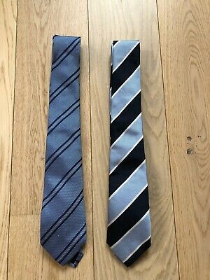 Tiger Of Sweden Mens Two Pieces Of Blue Silk Ties
