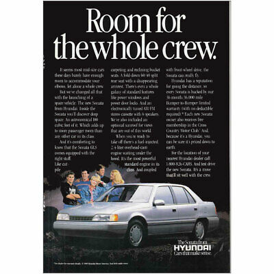 Classic Vintage Advertisement Ad A78-B 1989 Hyundai Sonata space craft