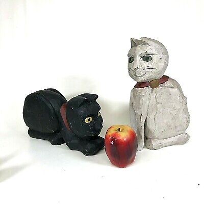 Pair of Large Signed L Koosed Hand Carved Wooden Folk Art Black & White Cats 198