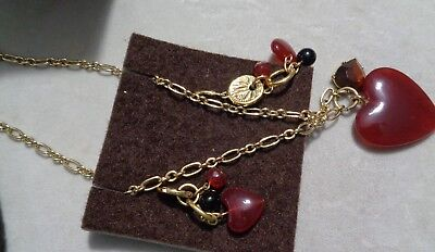 """UNIQUE by Yanbal International Red /& Black Acrylics Gold Plated 32"""" Necklace"""