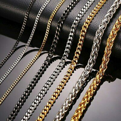 Zoe-clothes-store Cuban Link Chain Necklace Rose Gold//Black Gun//Silver//Gold Color 7MM Long//Choker Men Jewelry Hip Hop