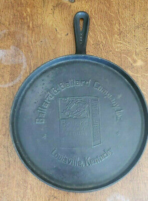 Vtg Cast Iron Ballard Company Louisville Skillet Griddle Pan 10 HTF Rare Antique