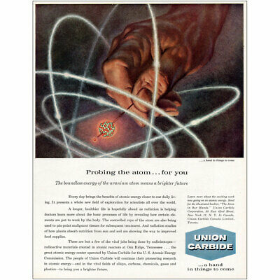 Probing the Atom for You Vintage Print Ad 1959 Union Carbide