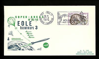 Postal History France Scott#1369 Space Event Eole Isentrope 3 French Guiana 1974