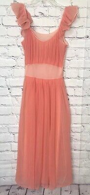 Vanity Fair Nightgown Pleated Ruffles Peach Coral Chiffon Vintage Size 32 USA