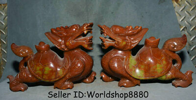 "10.8"" Old China Natural Red Xiu Jade Jadeite Dragon Turtle Tortoise Statue Pair"