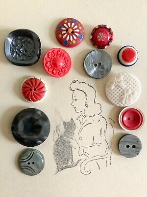 Lot of french vintage buttons bakelite glass plastic wood