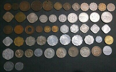 India 55 different coins : older types Anna, Rupee, Paise from Queen Vic on