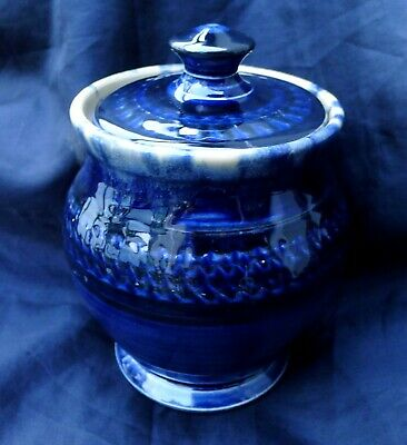 NEW ZEALAND STUDIO POTTERY; ATTRACTIVE COBALT BLUE LIDDED JAR by PAUL WALSHE.