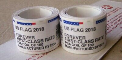 2 Coil Rolls Of Forever Stamps-First-Class-Usa Flag  Coil Of 100 Each -New