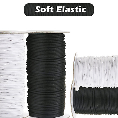 2.5mm Round White Black Elastic Bungee Shock String Stretchable Waist Cord Band