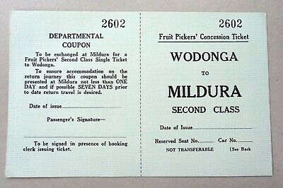 VR - Wodonga to Mildura  - Fruit Pickers Concession Ticket - Second Class