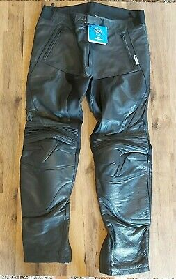 "Richa Motorcycle Black Leather Trousers CLEARANCE Waist 34"" CE Knee Regular"