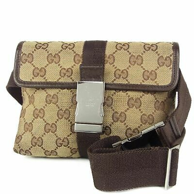 Auth GUCCI GG Canvas Leather Waist Pouch Fanny Pack Bum Bag Italy F/S 11232bkac