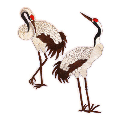 Crane Embroidery Sew Iron On Patch Bag Dress Clothes Applique Deco O5N1 Y5H7