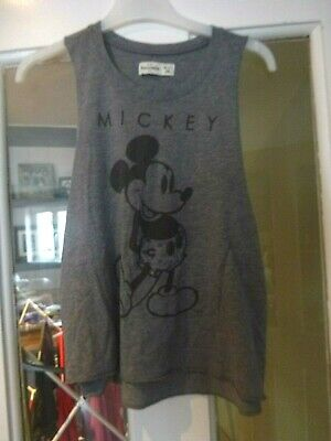 VGC Girls Abercrombie & Fitch Mickey Mouse grey vest top age 12yrs