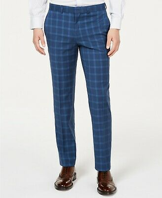 $125 Kenneth Cole Unlisted Slim-Fit Stretch Blue Graph Dress Pants 35 x 32