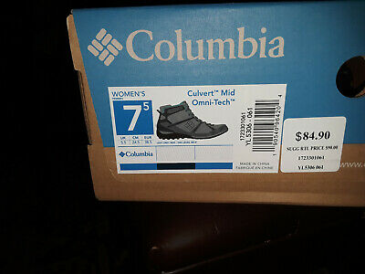 Columbia Womens Culvert Mid Omni-Tech Gray Hiking Shoes Size 7.5 New