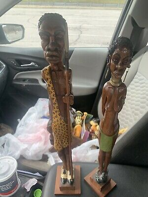 Hand Carved One  Of A Kind African Warrior And Wife 18/20 Inches Tall