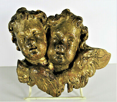 Antique 1800's Wood Carved Cherubs with Wings Twin Faces