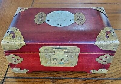 Vintage Chinese Wood Brass & Jade Inlay Jewelry Box Shanghai China