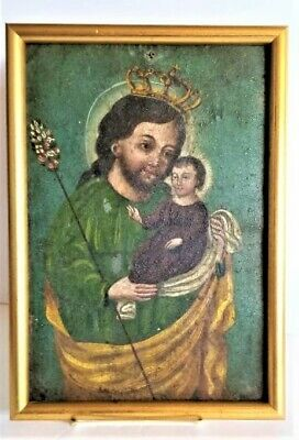 Antique 1875's Spanish Colonial Hand Painted Retablo St. Joseph and Christ