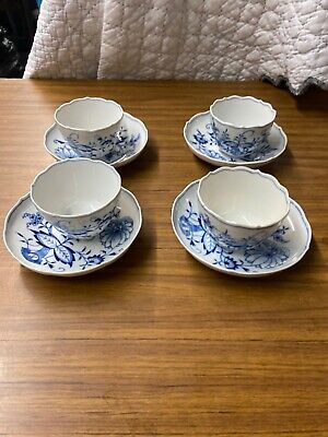 Set of Four Antique Meissen Blue Onion Cups and Saucers-Crossed Swords!!