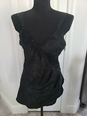 Victorias Secret Nightie Teddy Slip P S Brocade Satin black Sequin VTG gold labe
