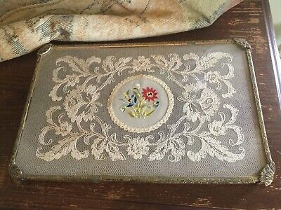 Antique Vtg Gold Tone Metal Vanity~Dresser Tray Tambour Lace Inset w Embroidery
