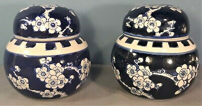 Vintage Pair of Chinese Porcelain Blue & White Prunus Ginger Jars