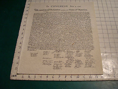 reporduction print of the DECLARATION OF INDEPENDENCE, nice condition.