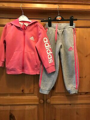 Girls Adidas Tracksuit Top Joggers Age 3-4 Years