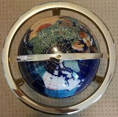 Gemstone World Globe 🌍with Compass & Gold painted stand DETAIL! DETAIL! DETAIL!