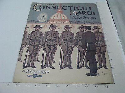 Vintage Original MILITARY Sheet Music: 1911 THE CONNECTICUT MARCH