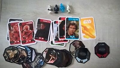 lot 38 carte + jeton + micro popz  STAR WARS (4 ROGUE ONE+12 FORCE AWAKENS)