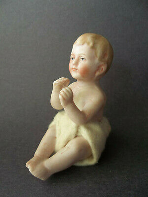 Antique Bisque Hand-Painted Sitting Piano Baby Miniature Dollhouse Doll Germany?