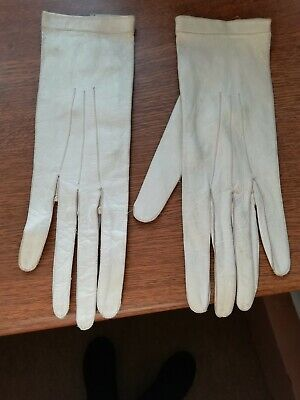 Antique White Cream Leather Gloves Ideal Wedding Display soft real leather