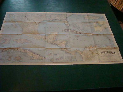 """Original NATIONAL GEOGRAPHIC MAP: 1947 countries of THE CARIBBEAN 25 X 41"""""""