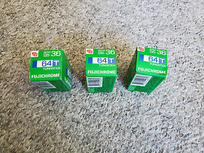 3 Rolls Vintage Outdated Fujichrome 64T slide film 35mm 36 exp Tungsten