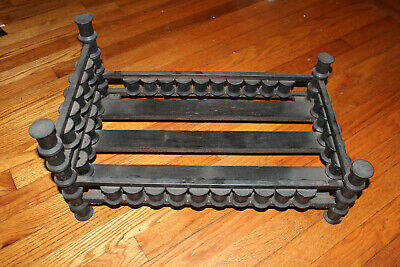 Antique Hand-made Toy Doll Furniture Bed Made from Wooden Thread Spools Rare