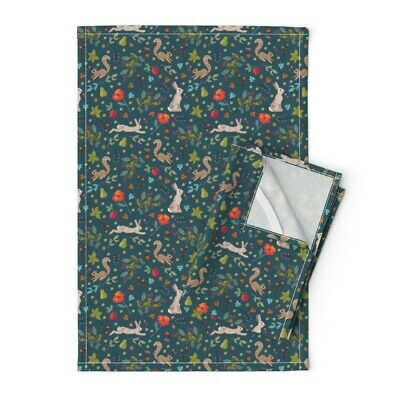 Woodland Wildlife Squirrels Autumn Linen Cotton Tea Towels by Roostery Set of 2