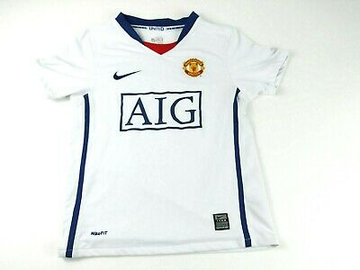 Nike Girls Small Age 8/10 White Manchester United Fit Dry Logo SS Shirt EUC