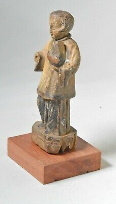 antique carved wood saint / santos mounted on wood stand