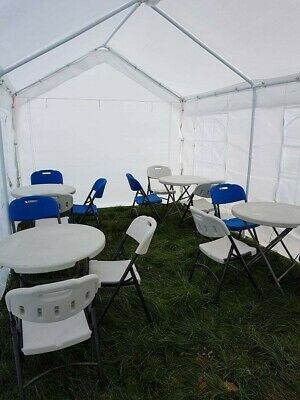 Heavy Duty 3 Folding Table + 12 Chairs Catering Camping Trestle Market Bbq
