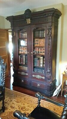 Antique Bookcase Showcase Victorian Age Hand Carved