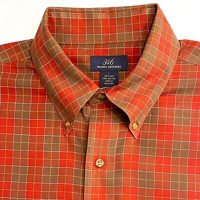Mens BROOKS BROTHERS Long Sleeve Shirt -sz L * Non Iron ~ Brown/Rust/Red