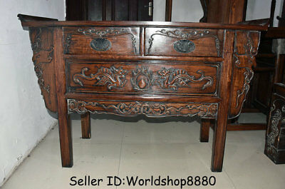"49.2"" Antique Chinese Huanghuali Wood Dynasty Dragon Drawer Table Desk Furniture"